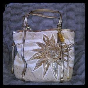Very Rare Coach Sun canvas beaded handbag